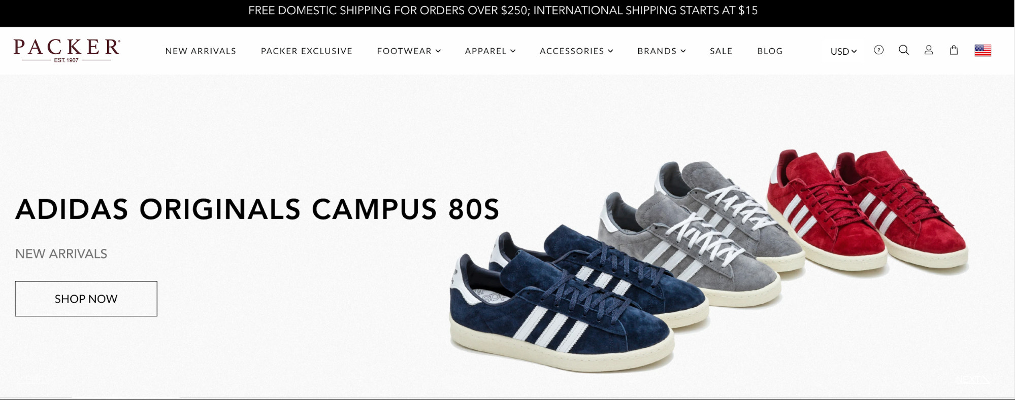 Packer Shoes homepage showcasing the Adidas sneakers they have available