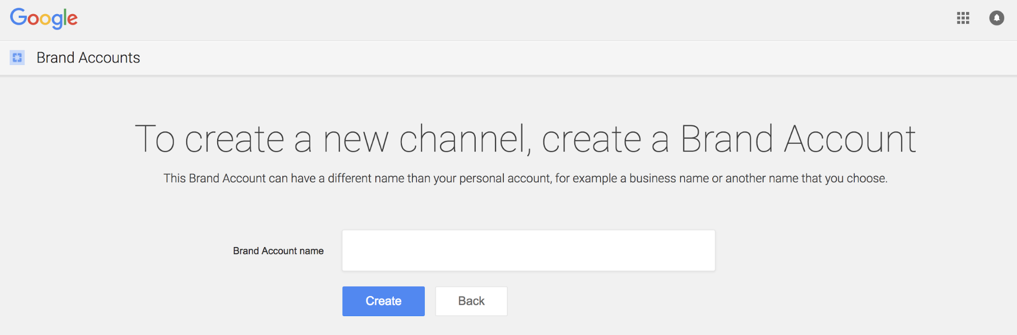Creating a YouTube brand account