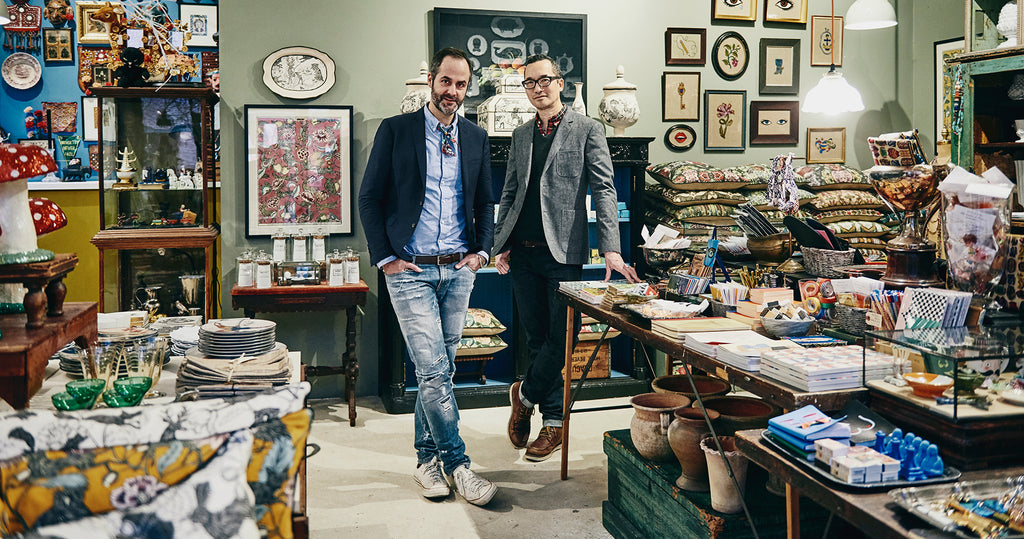 Portrait of designers Don Carney and John Ross from Patch NYC in their Boston retail store.