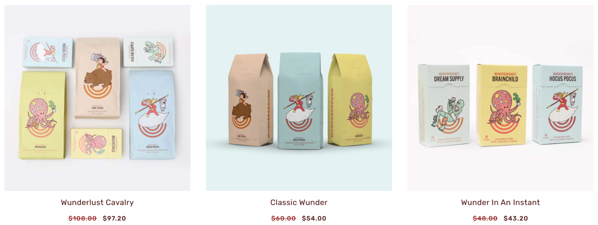 A product page example from Wunderground Coffee's website.
