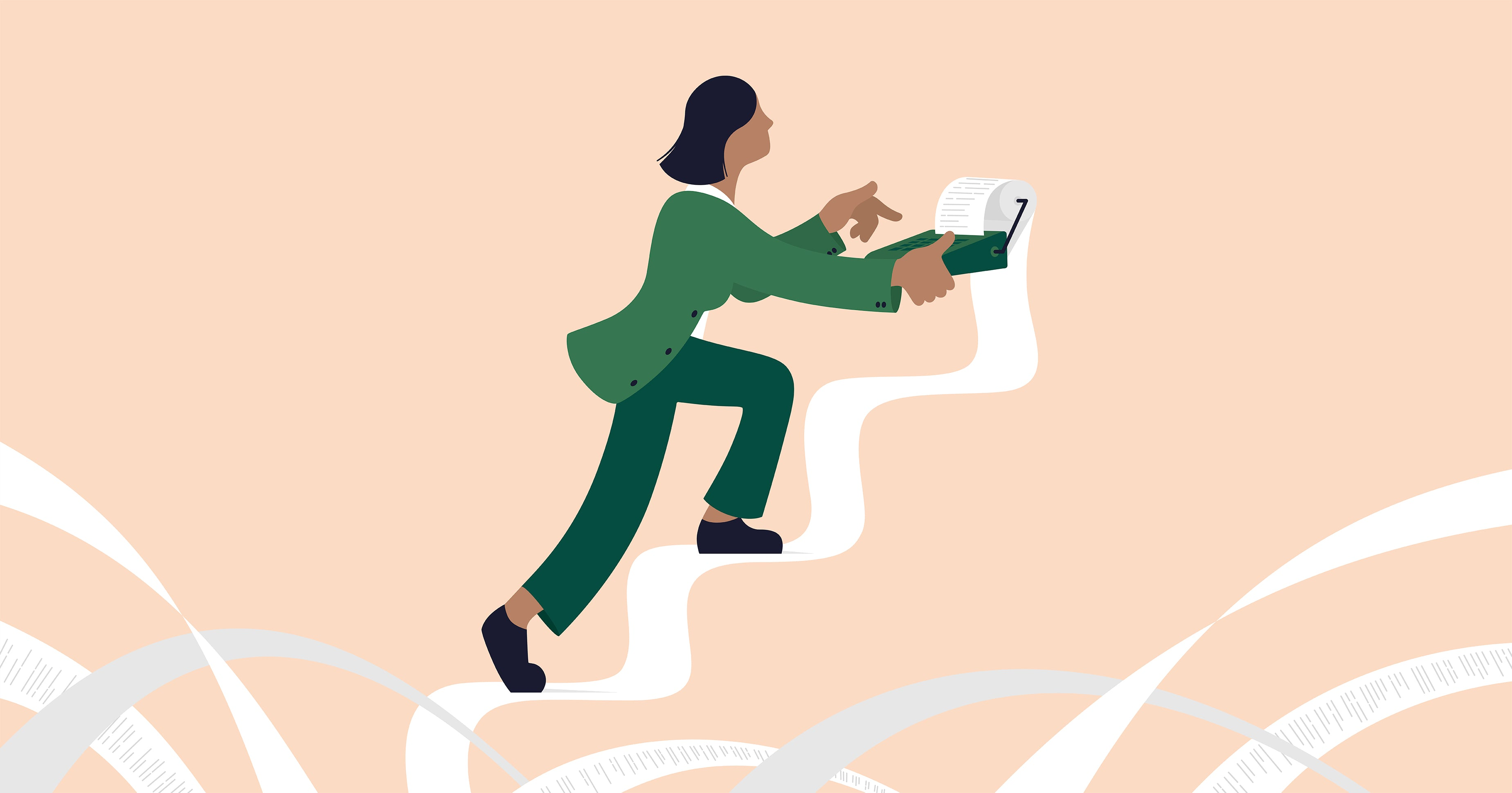 Illustration of a female character walking up stairs which is made up of her accounting records.