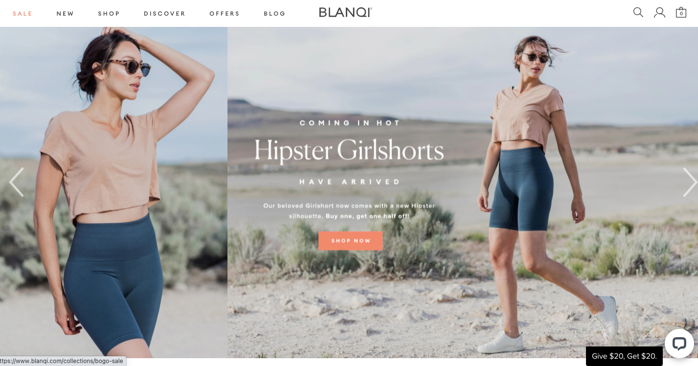 BLANQI's website features lifestyle photography of customer's using its products.