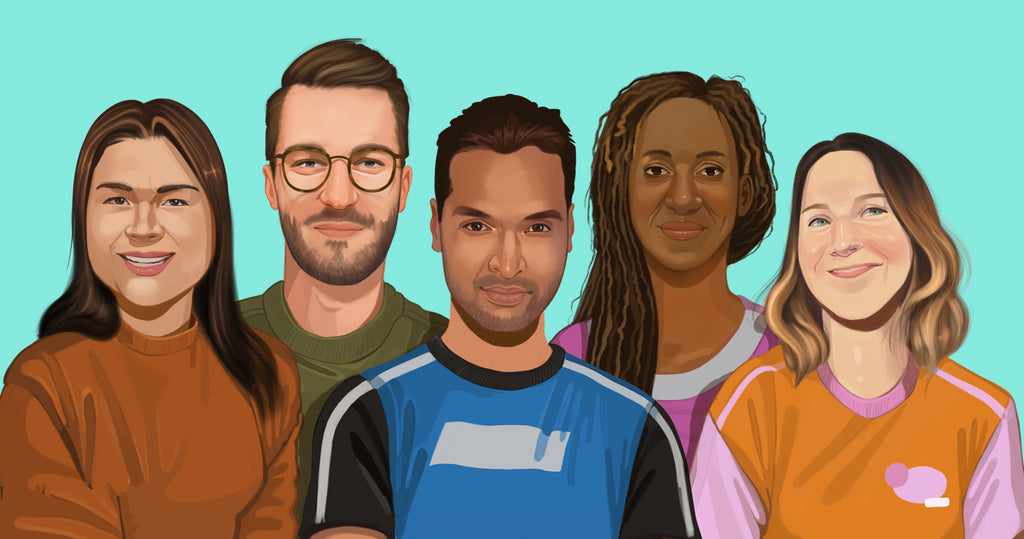 Illustrated portrait of five business founders