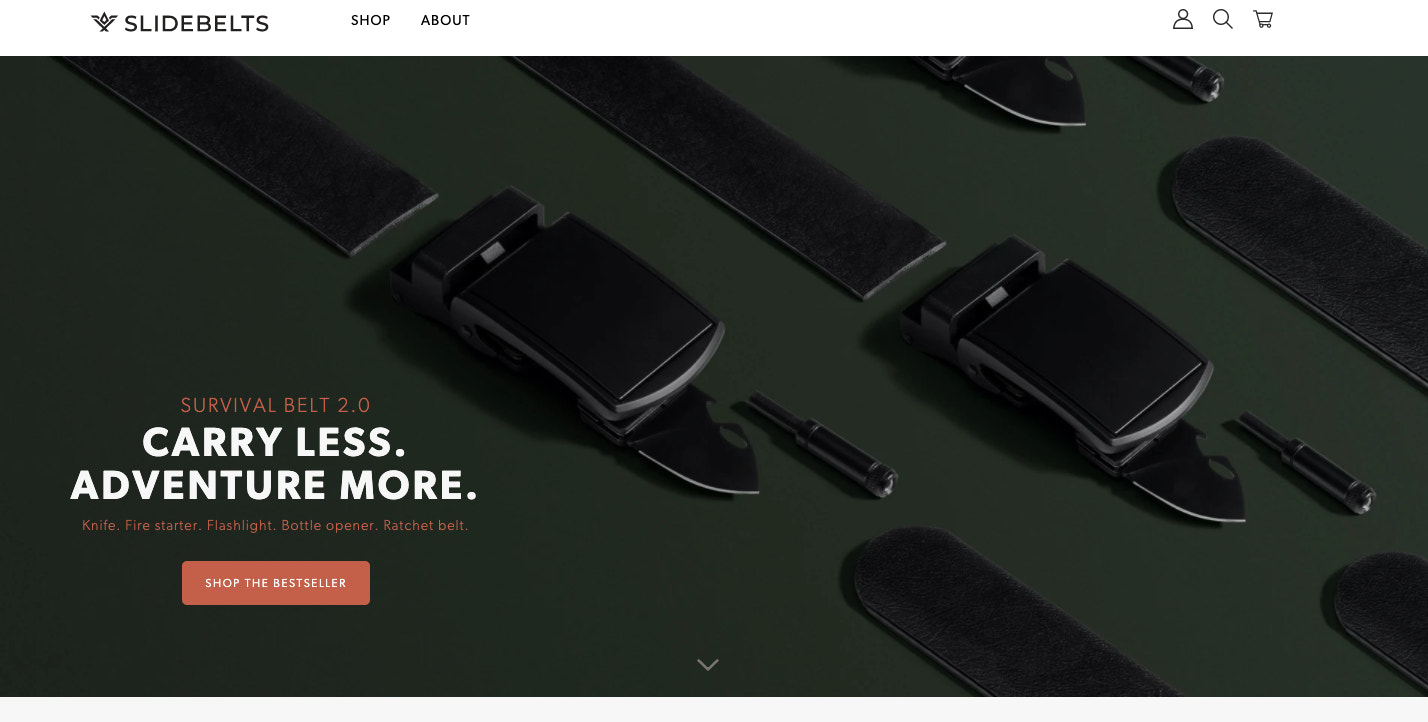 SlideBelts's website features descriptive text and visuals that showcase how its products work.