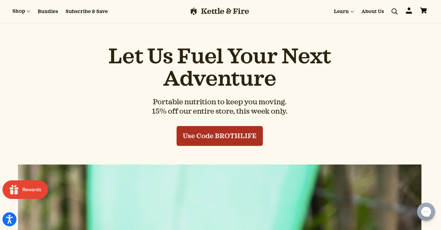 Kettle & Fire's is information-heavy to help customers understand the benefit of its products.