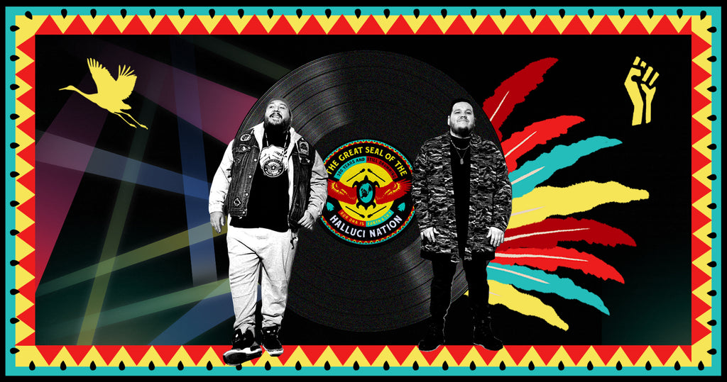 "Photo collage of Canadian EDM group a Tribe Called Red. Tim ""2oolman"" Hill is on the left and Ehren ""Bear Witness"" Thomas is on the right. Both men are pictured in black and white with an image of their album behind them. To the right of the album are red, yellow and blue feathers as a nod to their Indigenous culture."