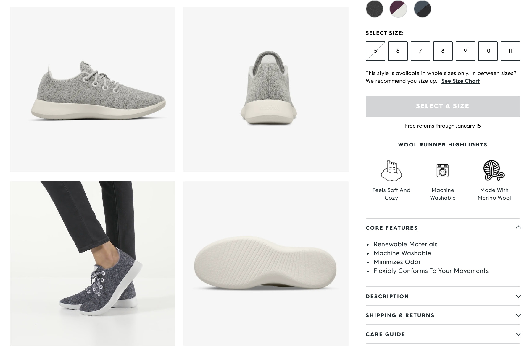 Details shared on the Allbirds product page for their wool runner