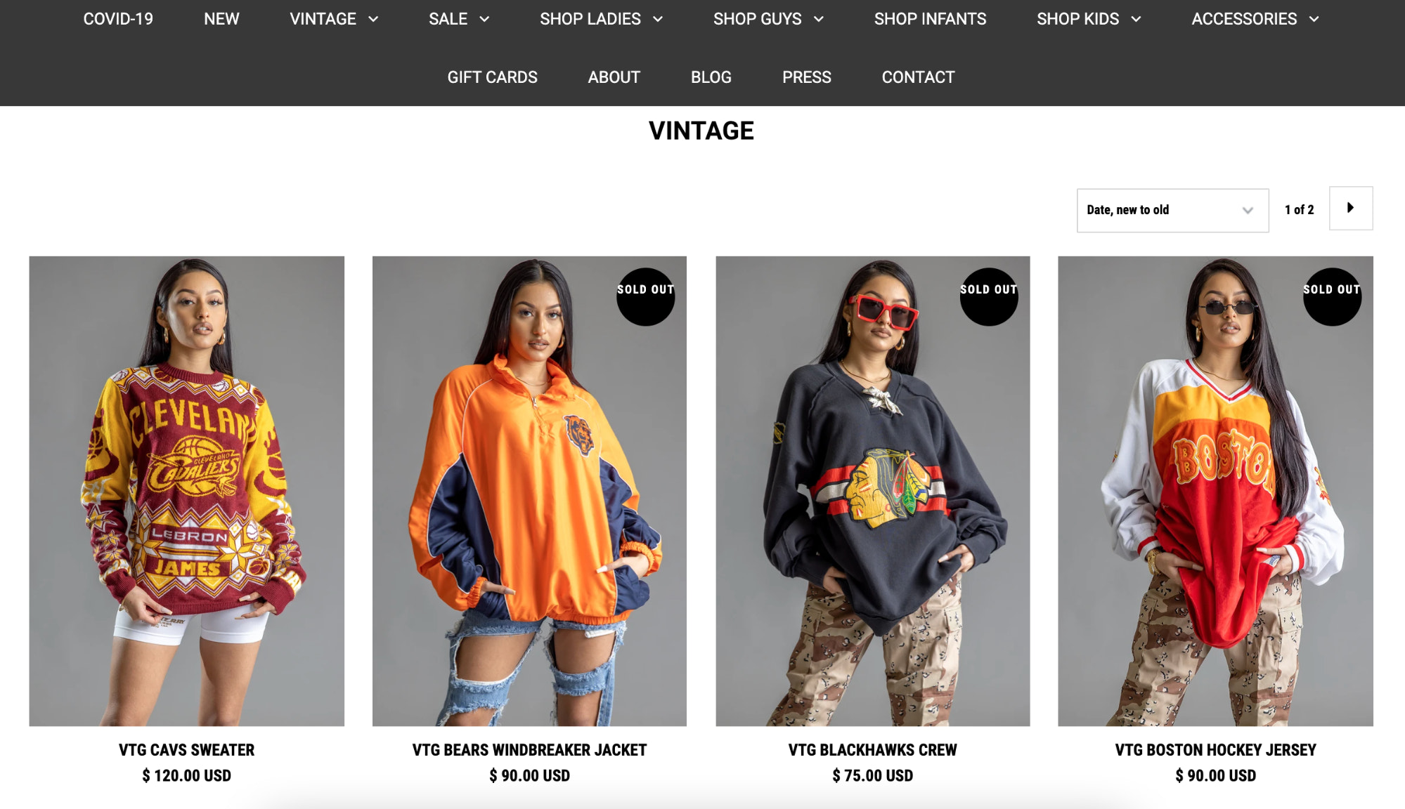 COAL N TERRY homepage featuring their various vintage clothing lines