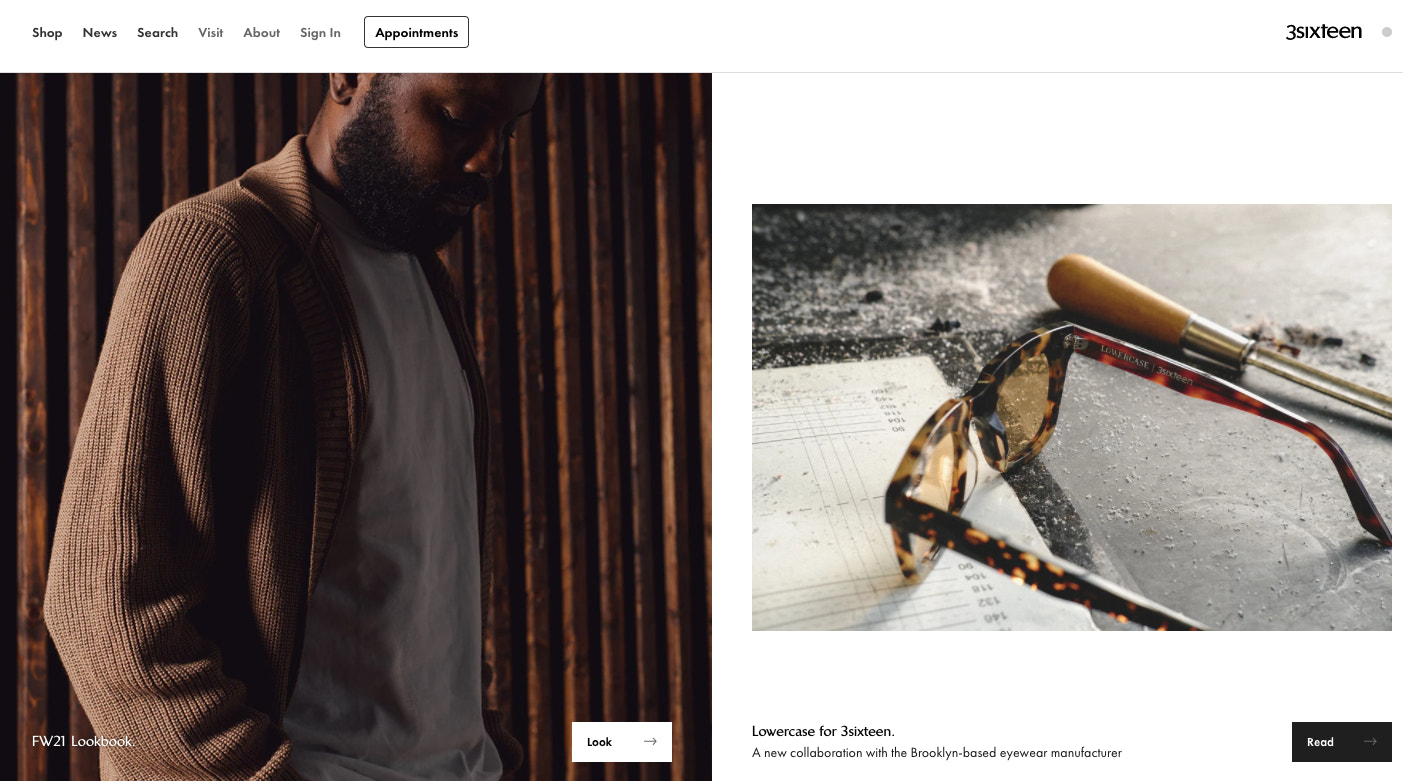 3sixteen's website is rich with photography, with other elements taking a backseat.