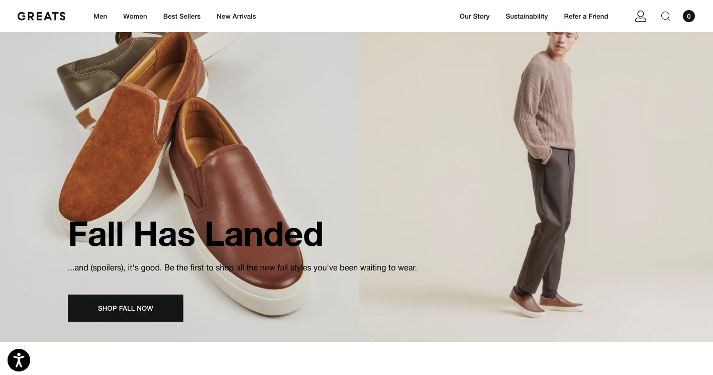 GREATS's is another web design that lets its product photography do the talking.