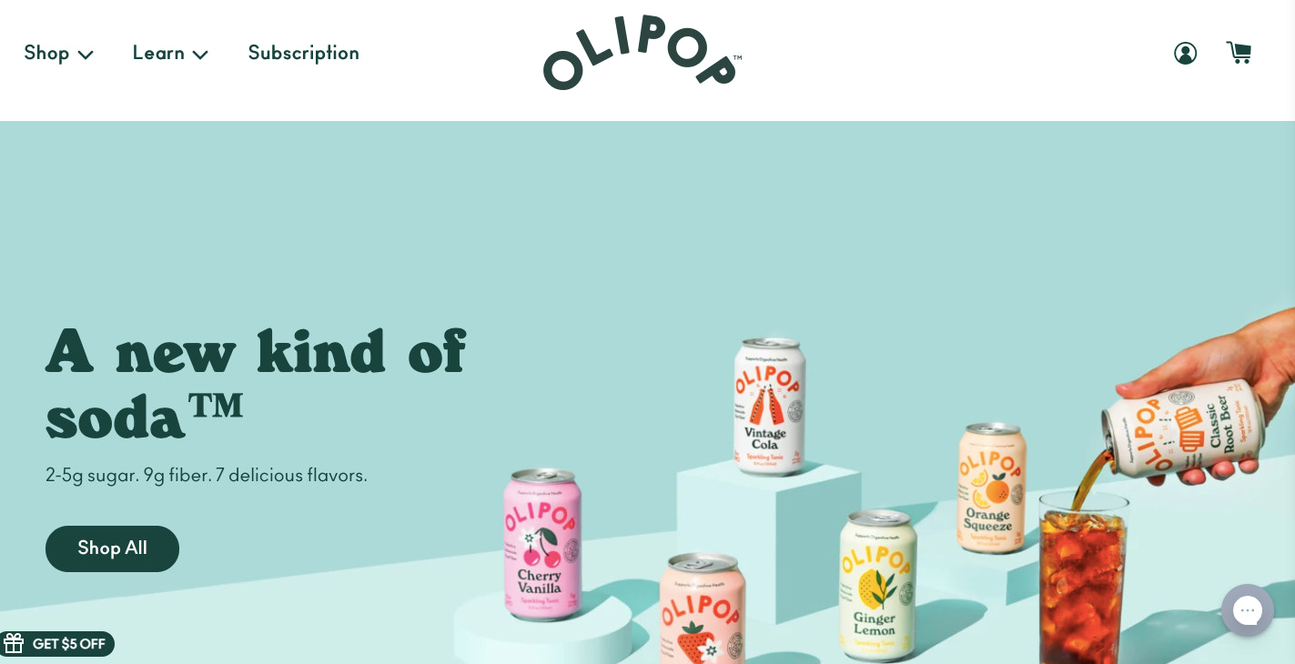 OLIPOP's website features bold colors and flashy photography featuring its beverage products.