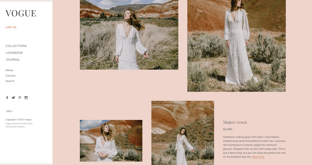 Screenshot of Vogue theme lookbook