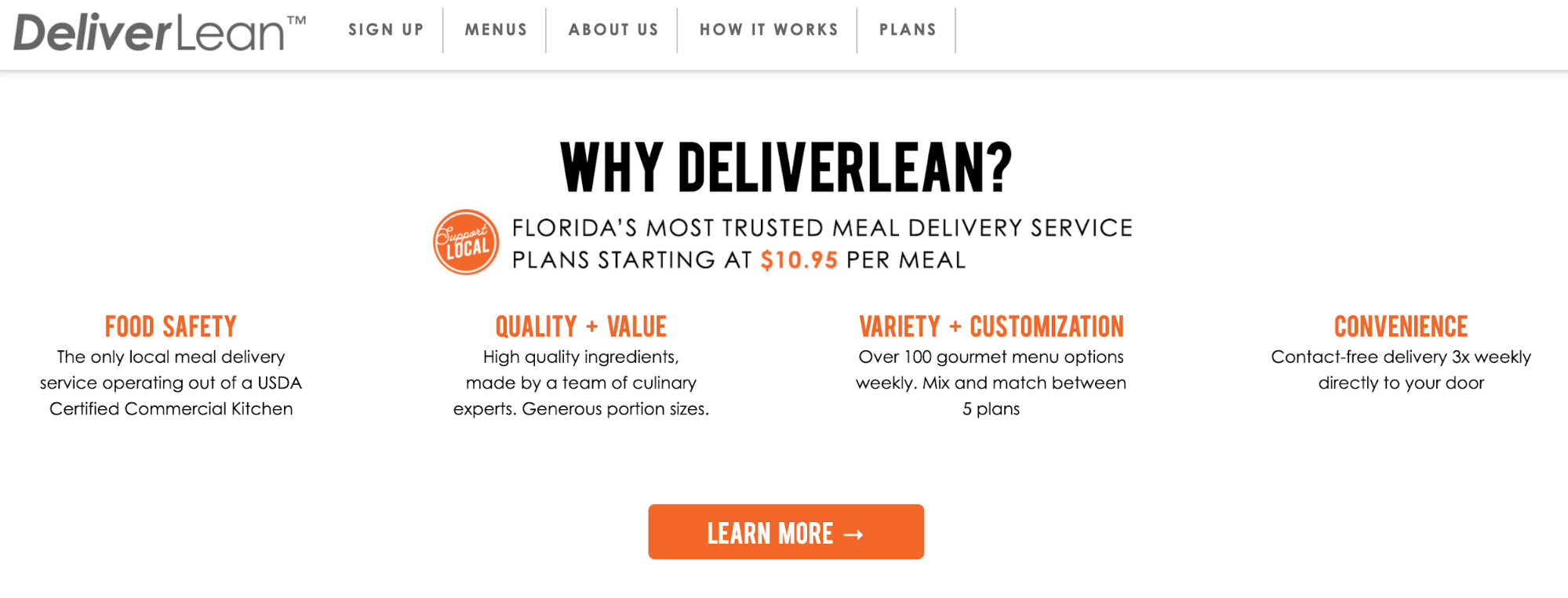 Deliver Lean's homepage, which features an overview of their sample meal plans