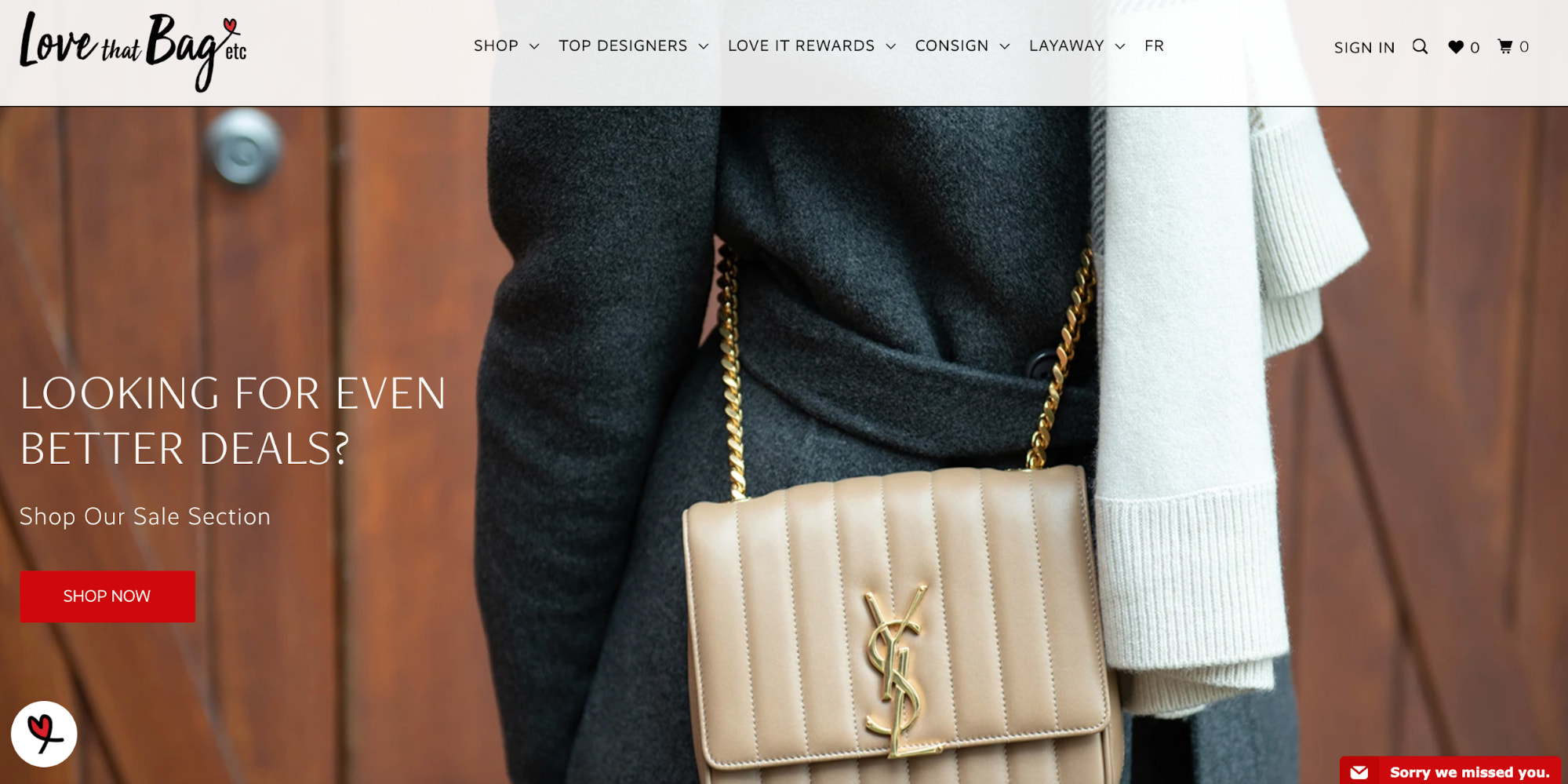 Love that Bag etc. homepage that features one of its high-end purses
