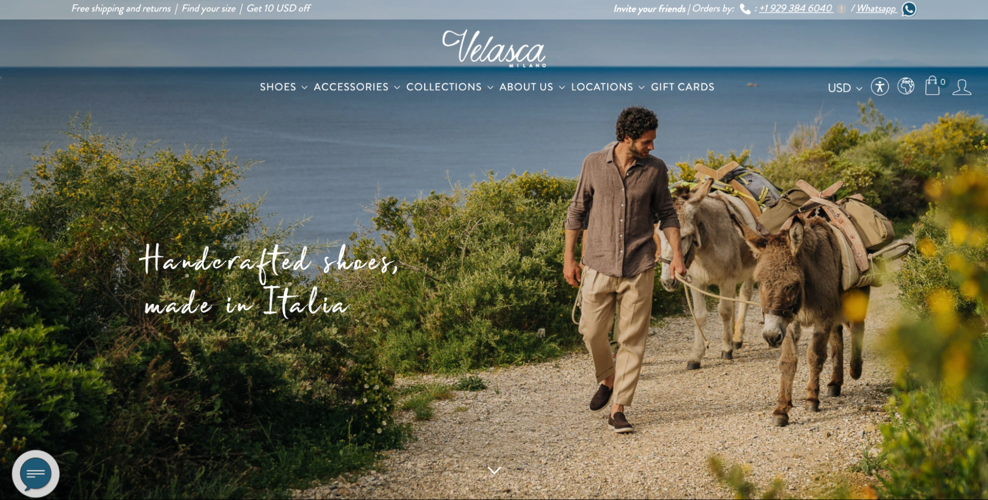 Velasca's web design focuses on lifestyle photography featuring its shoes, belts, and bags