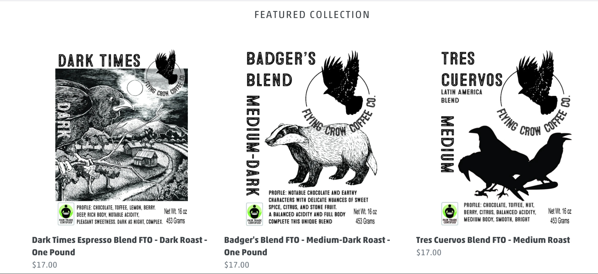 Samples of Flying Crow Coffee Co's various brews available to buy