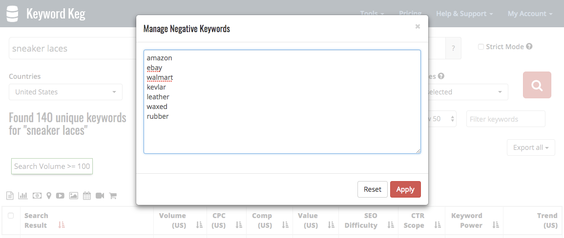 Removing additional negative keywords.