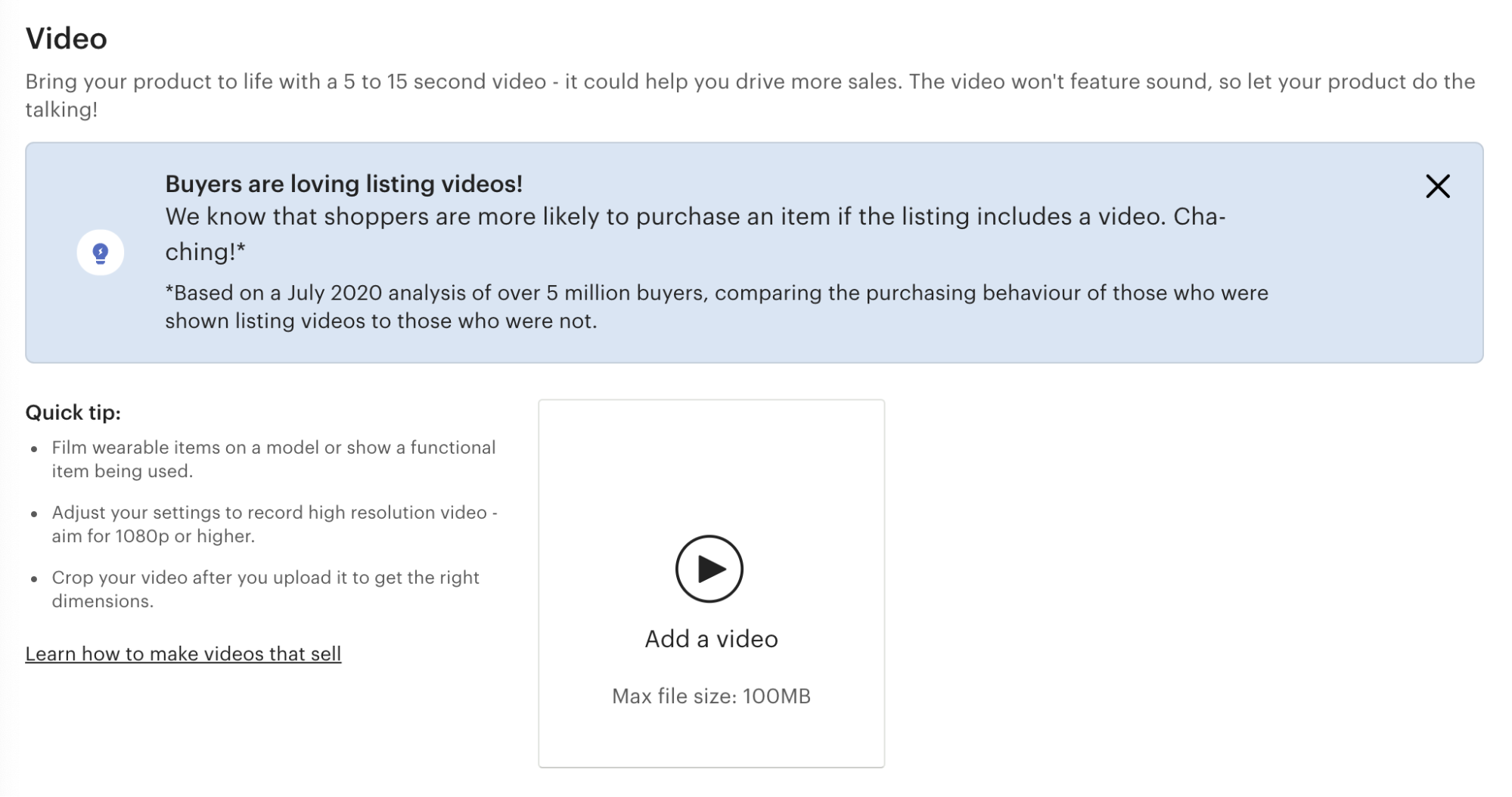 Uploading an image or video for your new Etsy listing.