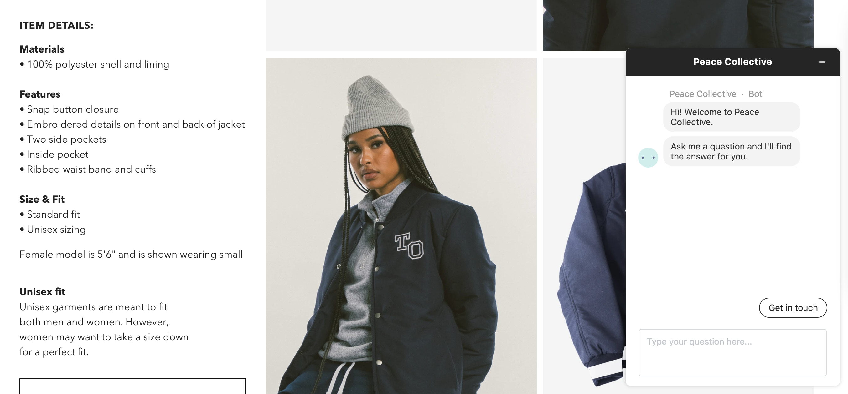 Sizing details listed on a Toronto-themed bomber jacket sold by Peace Collective