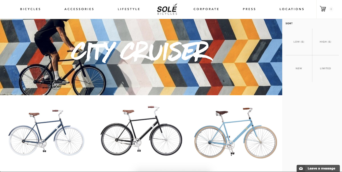 Solé sells bicycles for customers who care about aesthetics.