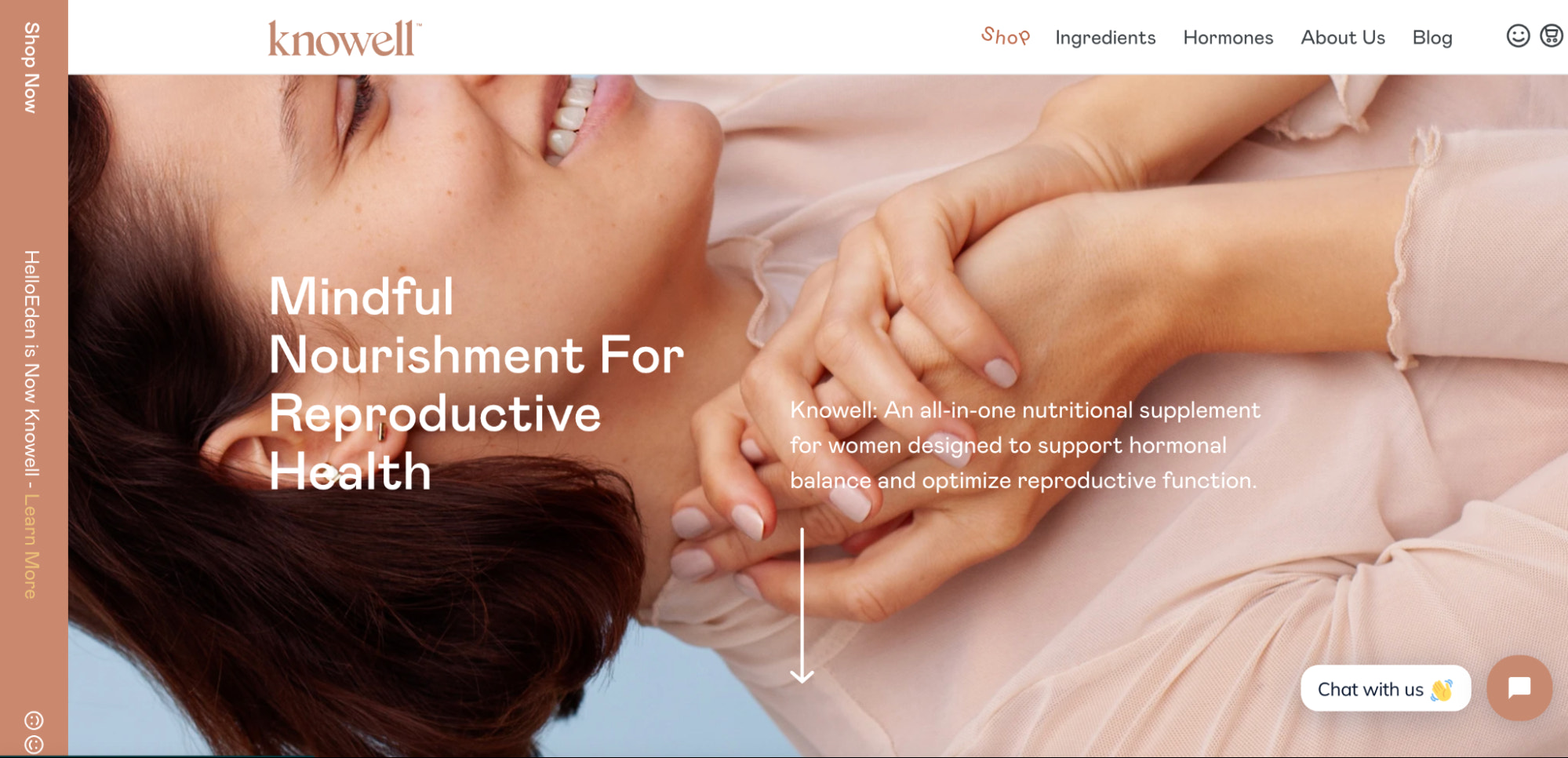 Knowell's web design highlights information about the company's nutritional supplements