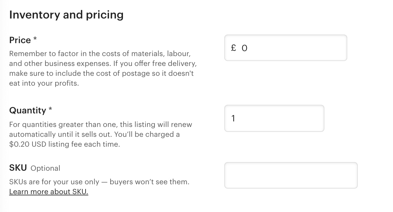 Setting the price of your products on Etsy's marketplace.