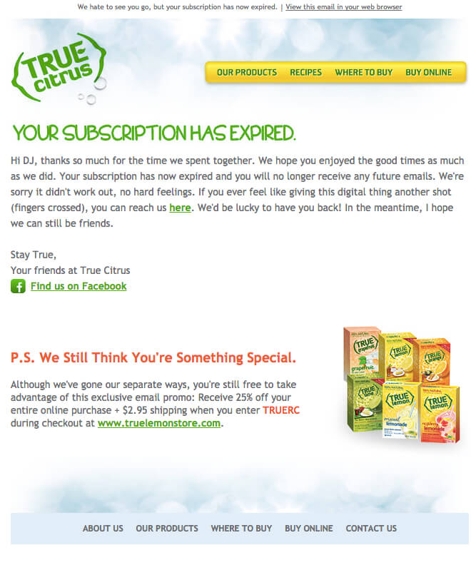 true citrus subscription expired