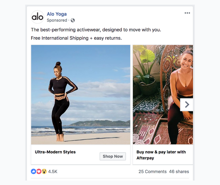 Example of a Facebook carousel ad.