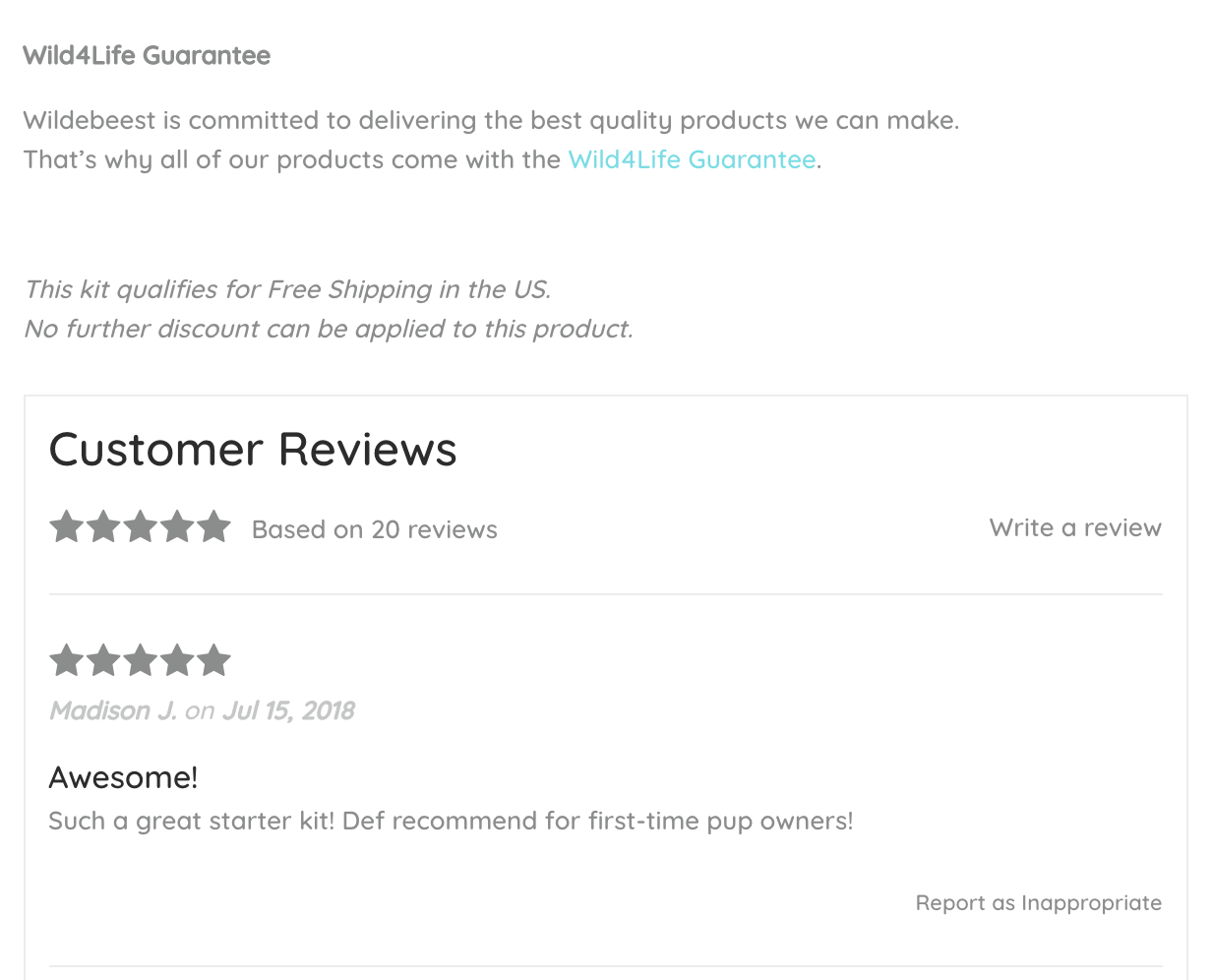 Use reviews to establish trust.