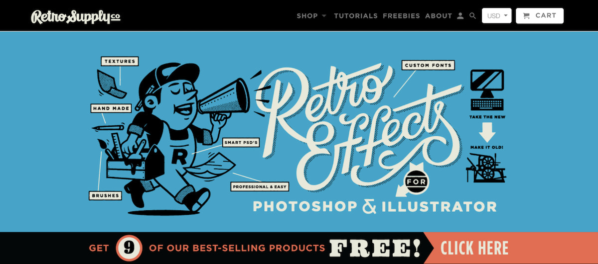 Retro Supply sells digital products for designers.