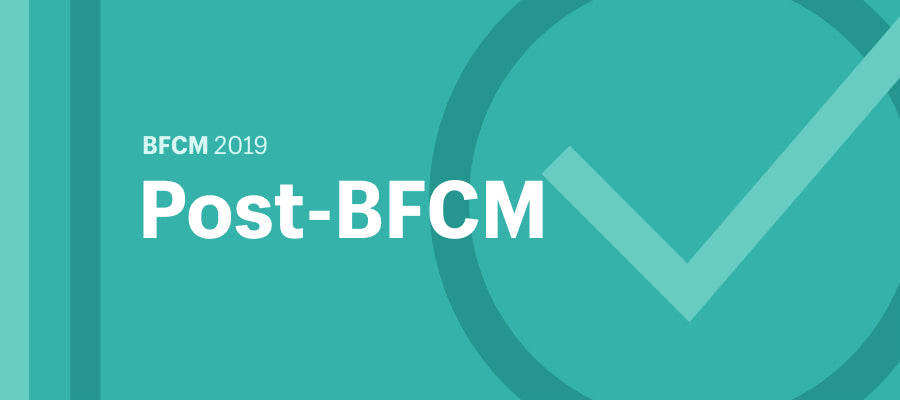 """Illustration featuring the words """"Post-BFCM"""" and a checkmark."""