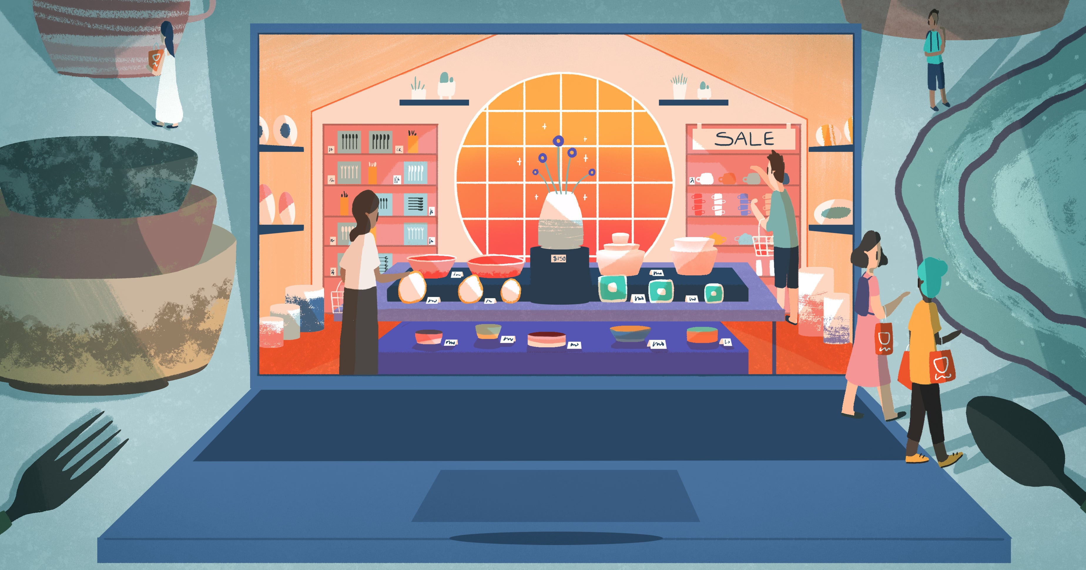 Illustration of a shop's inventory being organized into the front display or shelves on the side of the store to optimize for sales