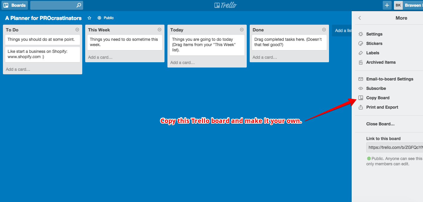trello board template for procrastinators