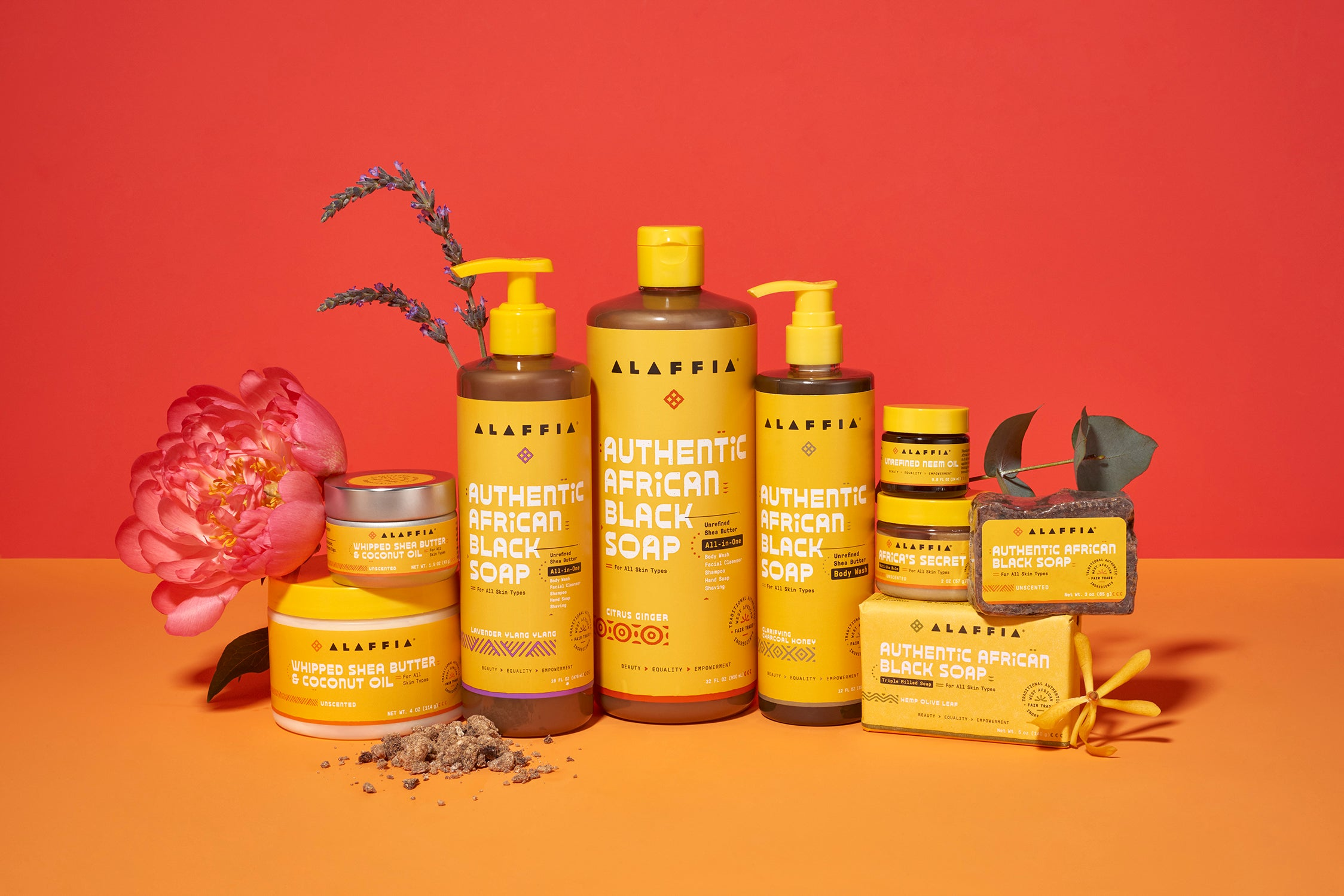 A collection of hair and skincare products from Alaffia.