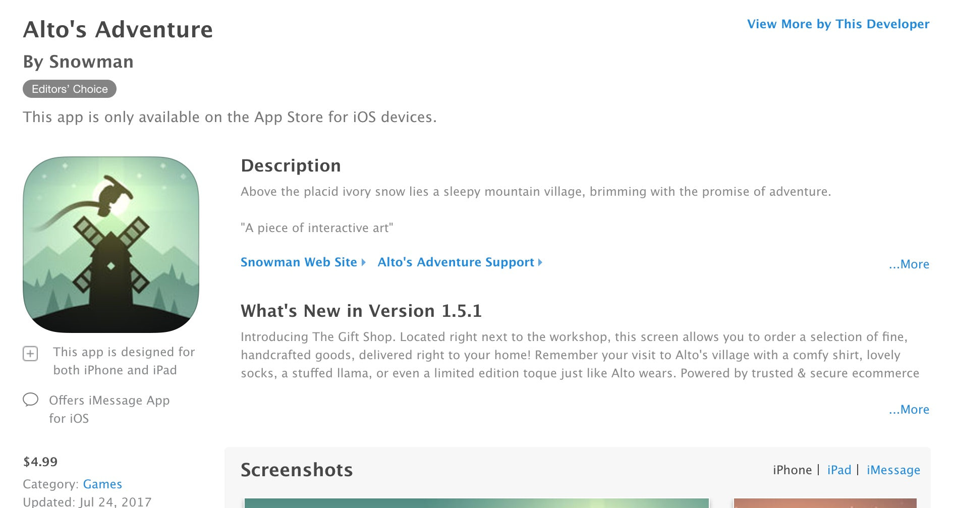 alto's adventure in itunes