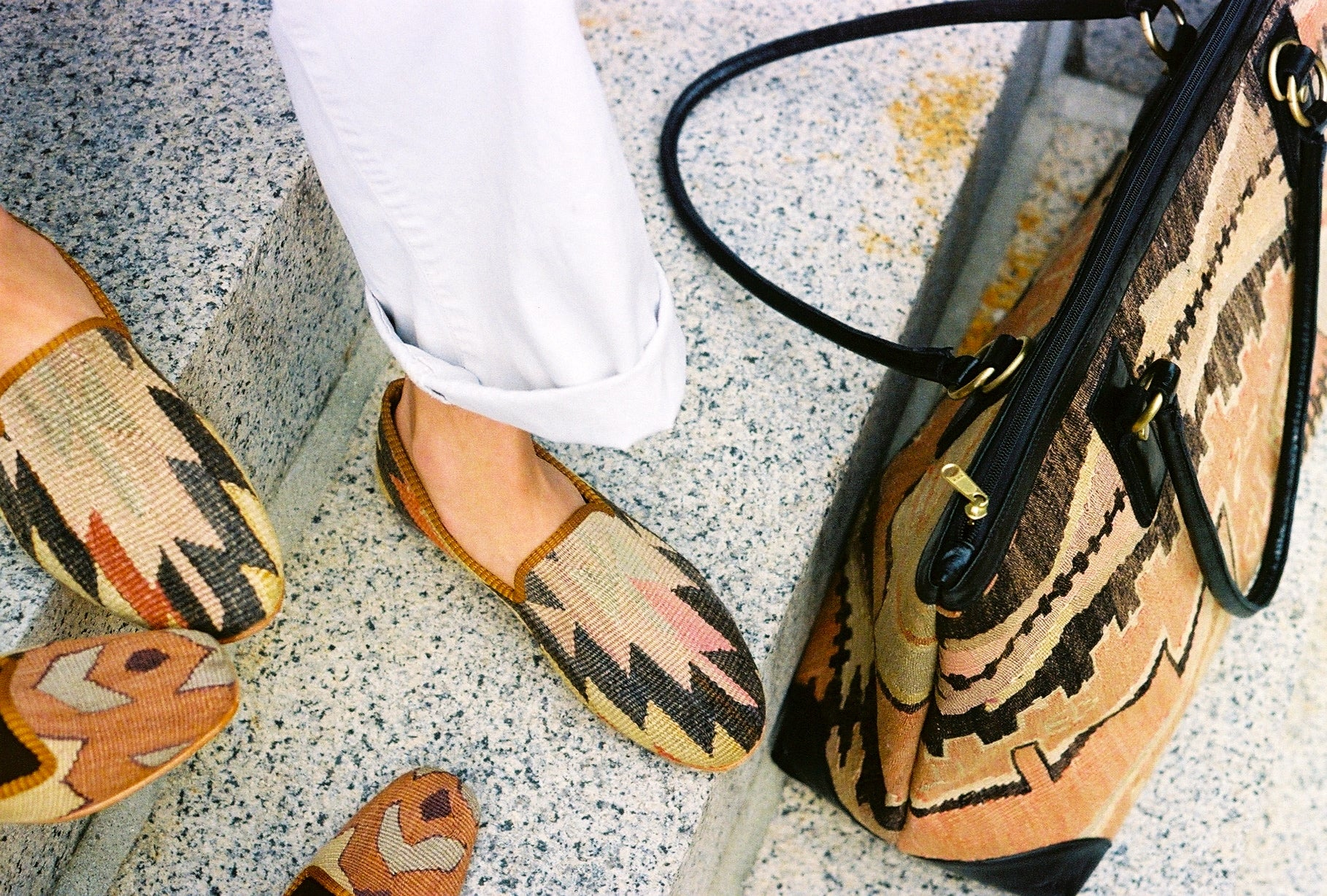 Kilim smoking shoes and bag from Artemis Design Co
