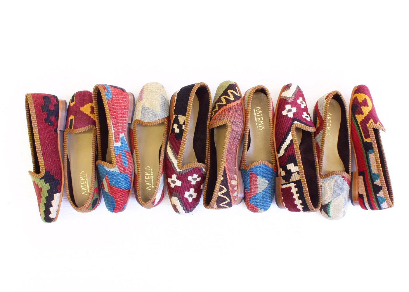 Kilim loafers in multiple patterns from Artemis Design Co
