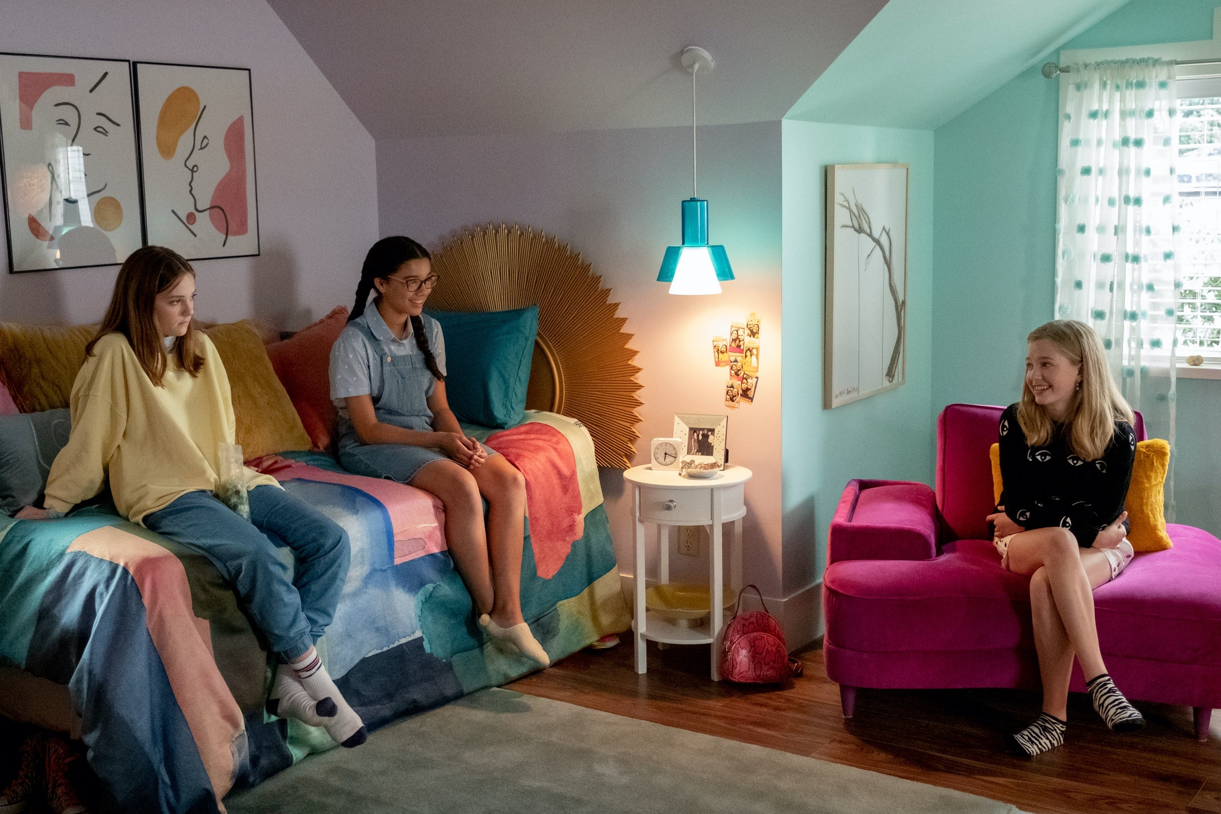 The Baby-Sitters Club convenes in their bedroom clubhouse
