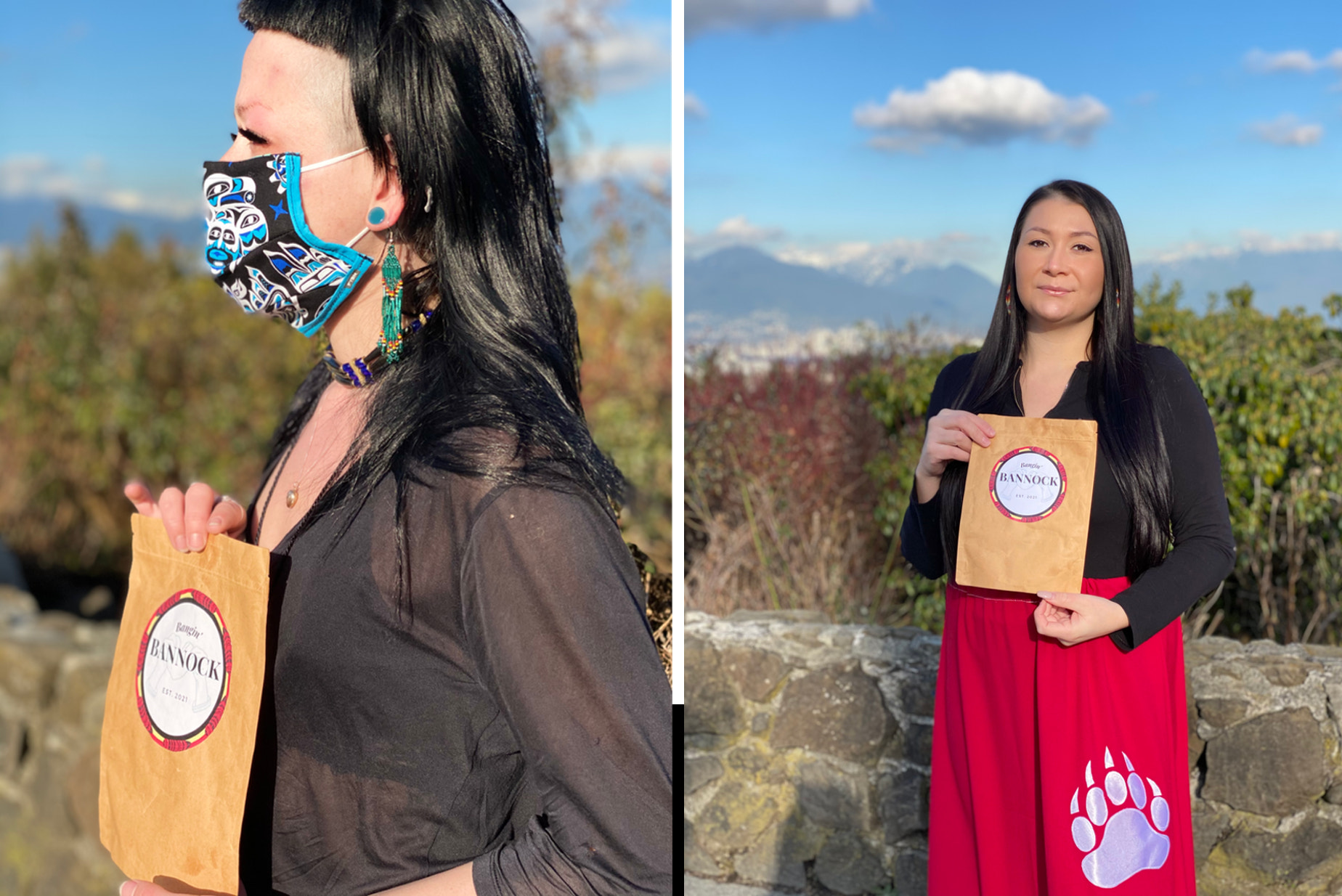 Founders Kelsey Coutts and Destiny Hoostie pictured with Bangin Bannock product in hand.