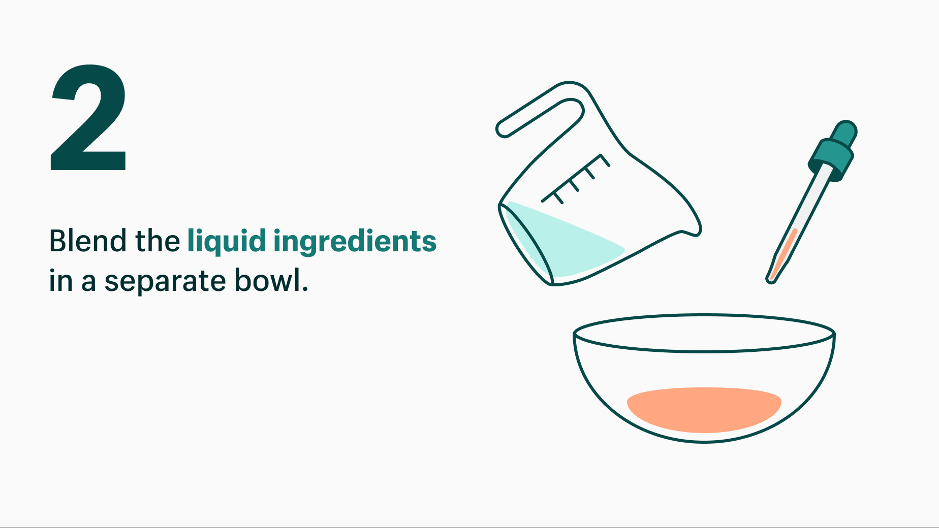 blend liquid ingredients into mixing bowl