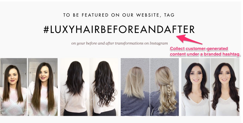 luxy hair's user-generated content hashtag
