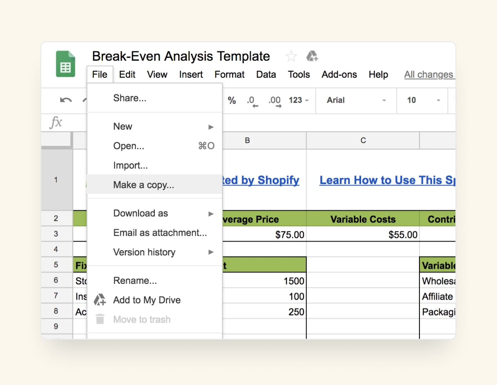 making copy of break even analysis template
