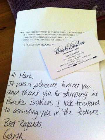 Brooks Brothers handwritten thank you letter