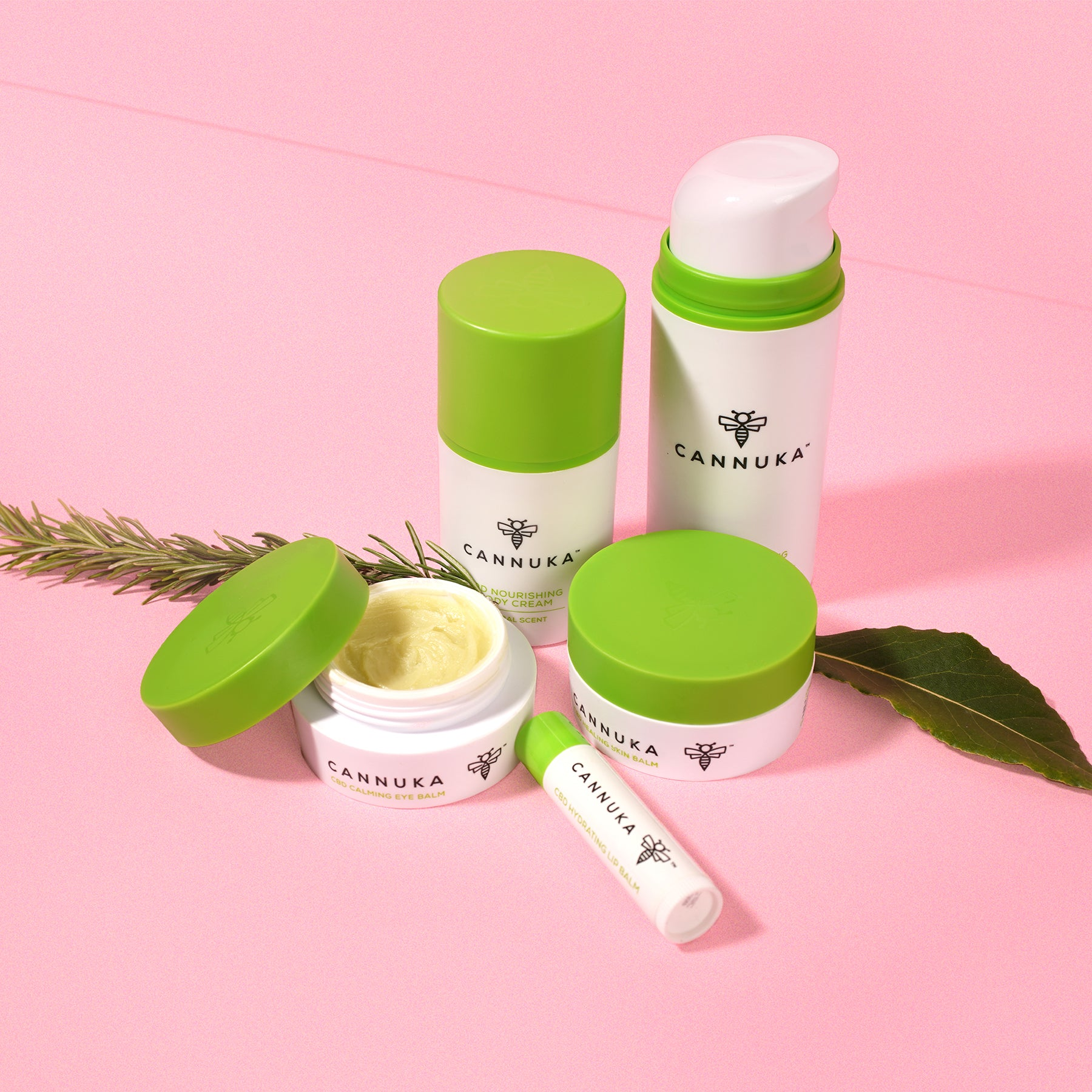 Still life photograph of five Cannuka products that includes eye balm, lip balm, body cream, and skin balm. They are photographed against a bright pink background and there is a sprig of fresh rosemary nestled among the products.