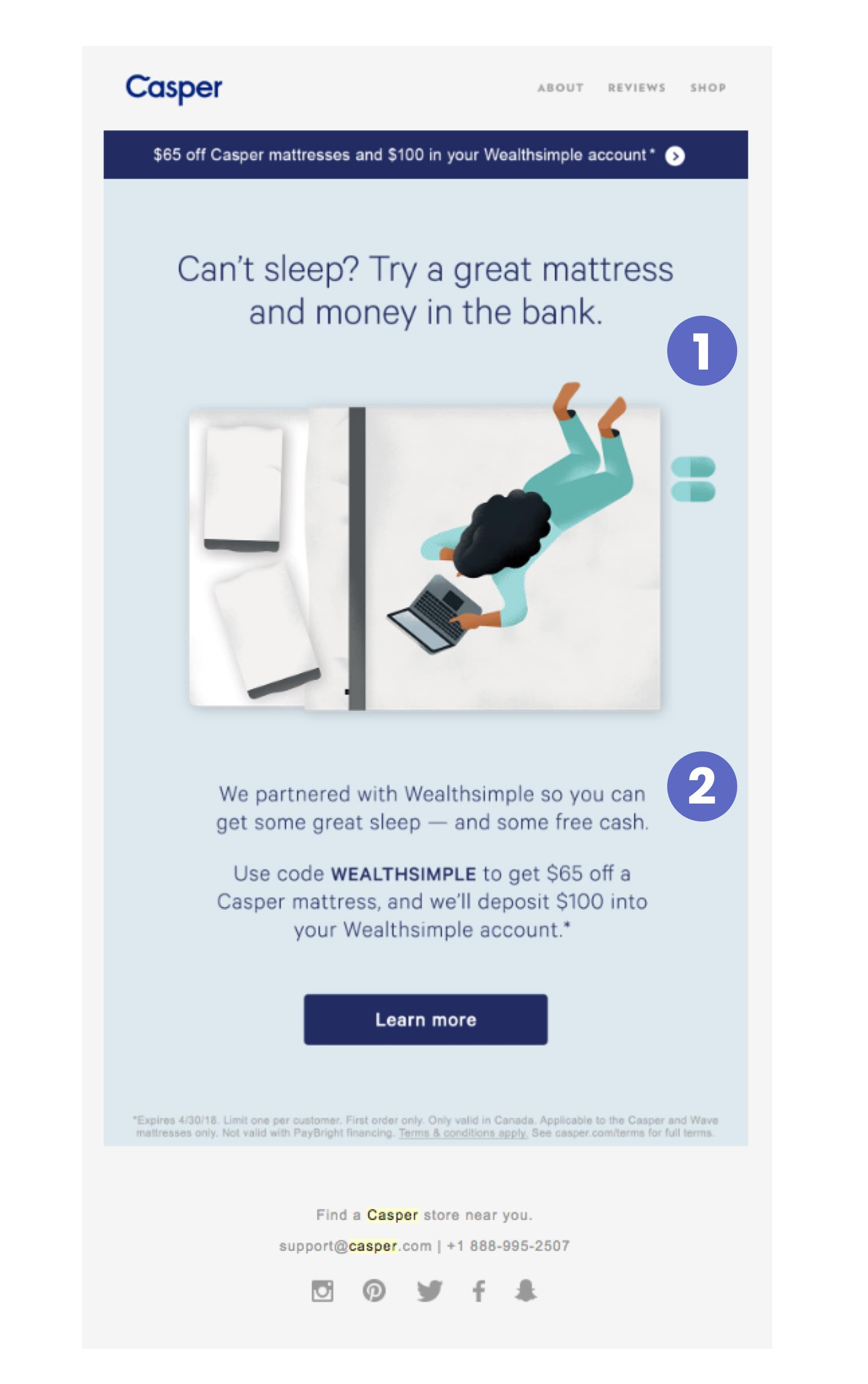 casper partnership with wealthsimple email