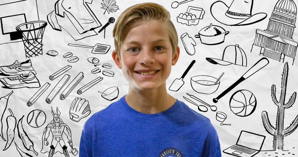 Photo collage of 12 year old Founder Charlie Kobdish. He's wearing a bright blue tshirt. He is standing against a background full of illustrations that reflect his business, his hobbies, his inspiration, his future goals and where he's from (Texas).