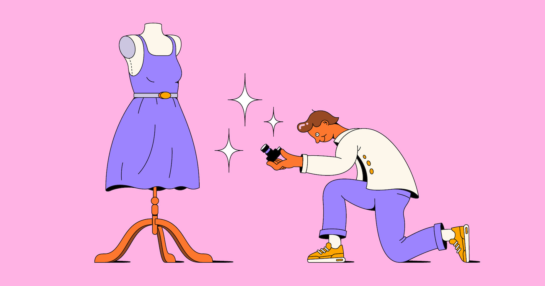 Illustration of a person carefully positioning themselves in preparation for their clothing photography shoot
