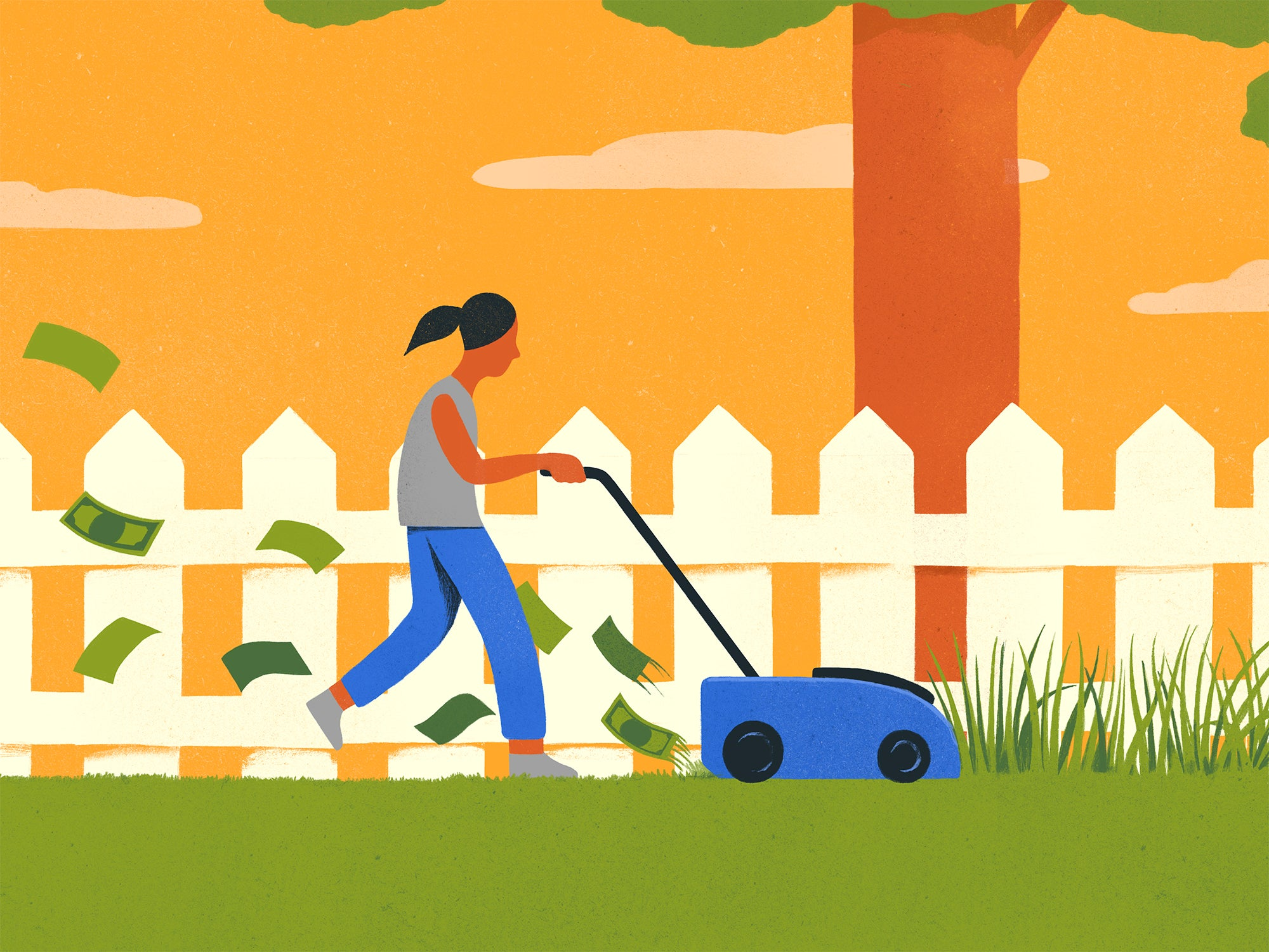 Illustration of a kid cutting grass. Money flies behind the lawnmower, signifying a kid-run service business