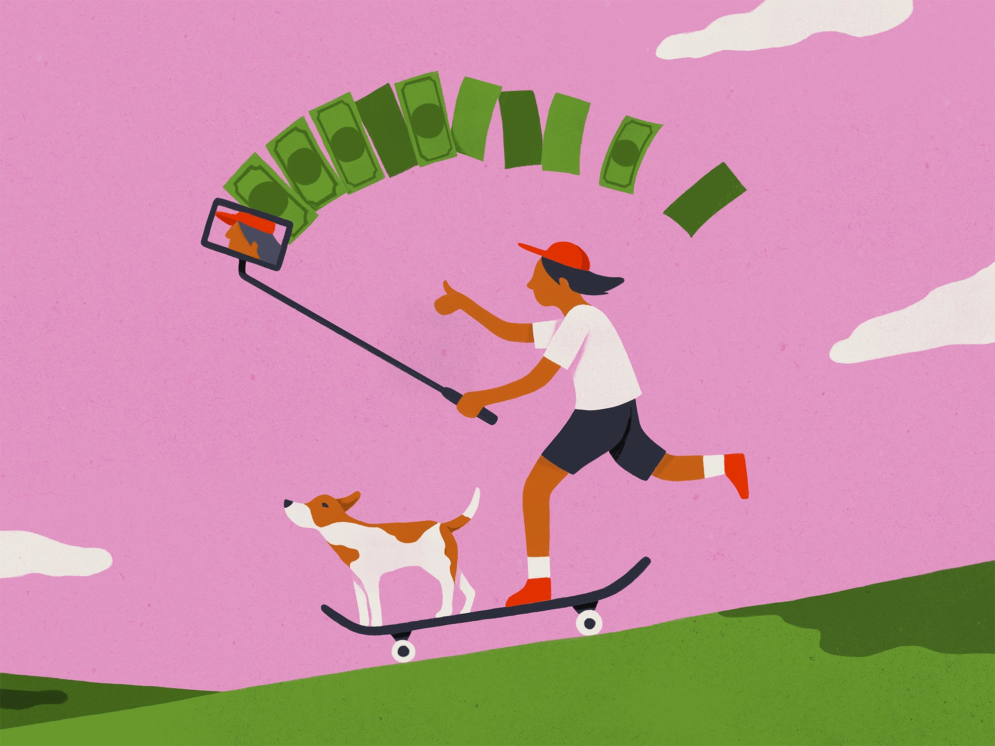 Illustration of a kid running a YouTube business, holding a phone and shooting a video while money streams out