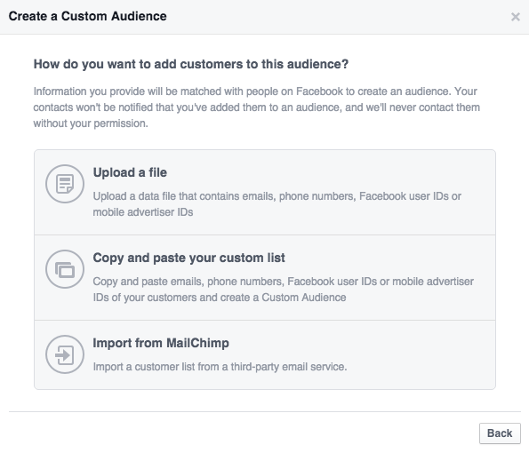 Creating email custom audience